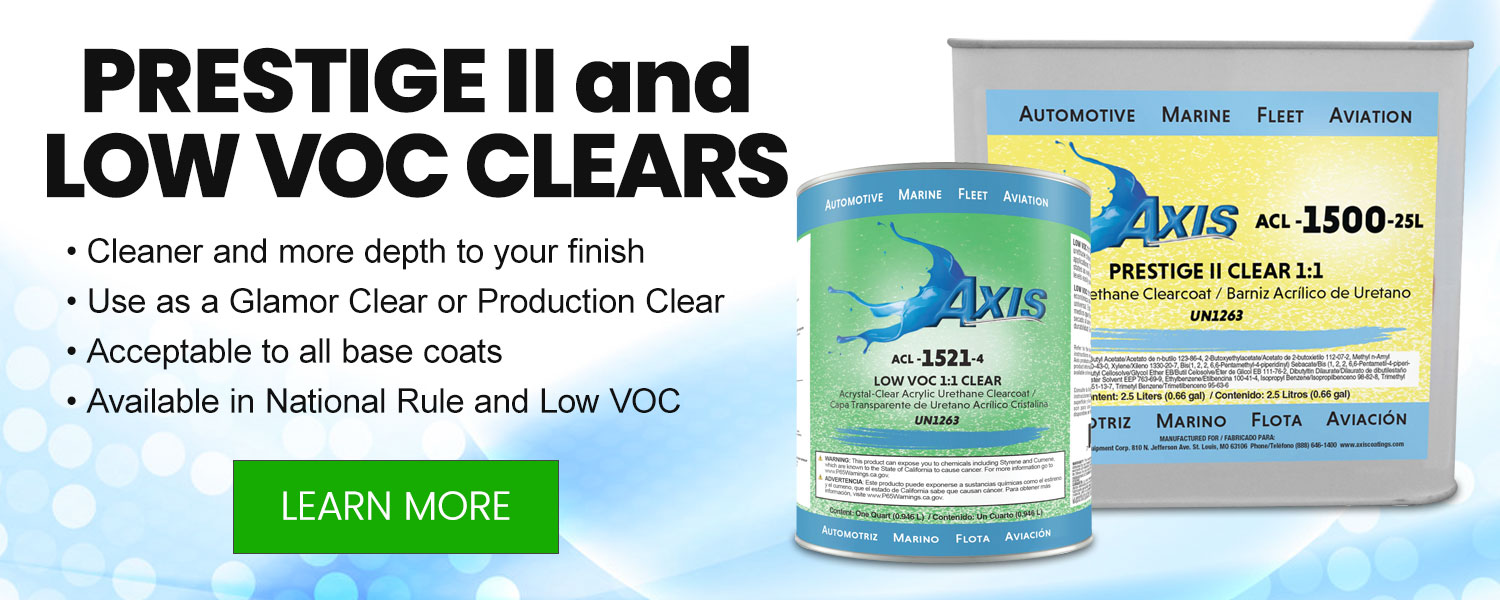 Axis Coatings Prestige II and Low VOC Clears